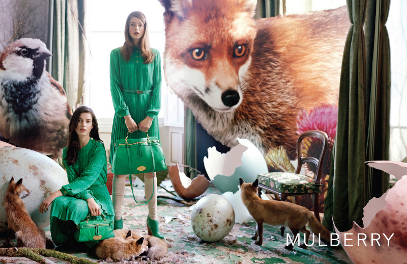Mulberry kept with English tradition for its fall advertisements which starred Tati Cotliar and Julia Saner. / Photo by Tim Walker
