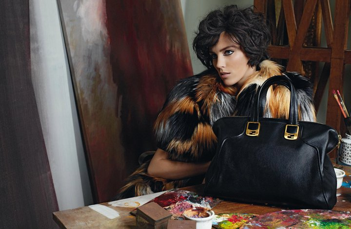 Anja Rubik played an artist's muse for Fendi's autumn advertisements. / Photo by Karl Lagerfeld