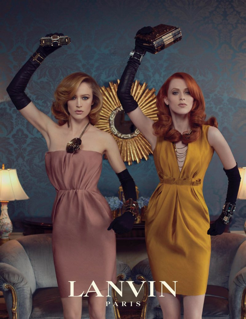  Karen Elson and Raquel Zimmermann got into the groove for Lanvin's fall 2011 campaign. / Photo by Steven Meisel