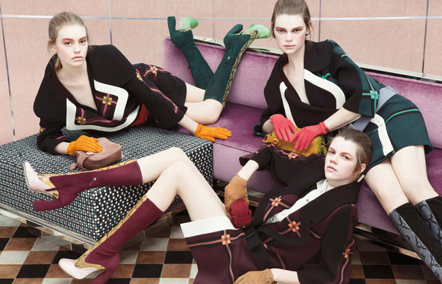 Prada's fall campaign casted all relatively new faces for the sixties inspired wear. This image features Kelly Mittendorf, Antonia Wesseloh and Ondria Hardin. / Photo by Steven Meisel