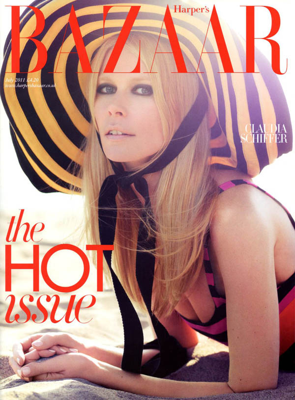 claudiacover <em>Harpers Bazaar UK</em> July 2011 Cover | Claudia Schiffer by Horst Diekgerdes
