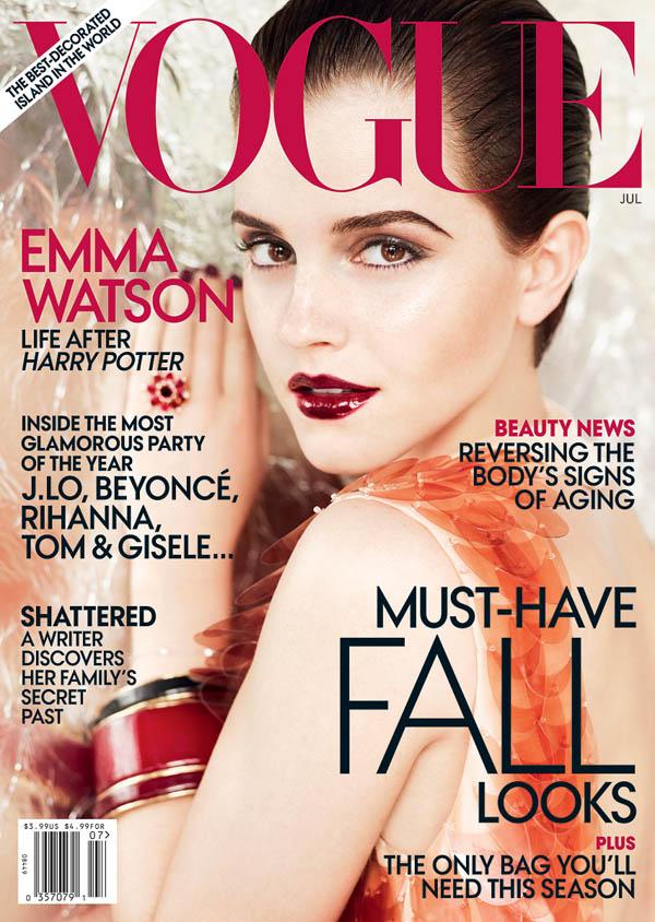 emmacover <em>Vogue US</em> July 2011 Cover | Emma Watson by Mario Testino