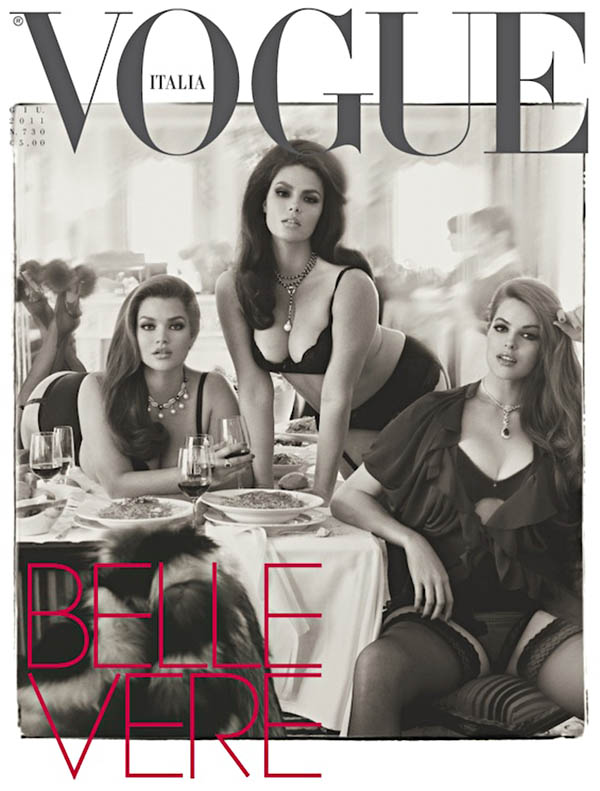 Vogue Italia made quite the statement by featuring full figured models Tara Lynn, Candice Huffine and Robyn Lawley for its June issue. / Photo by Steven Meisel