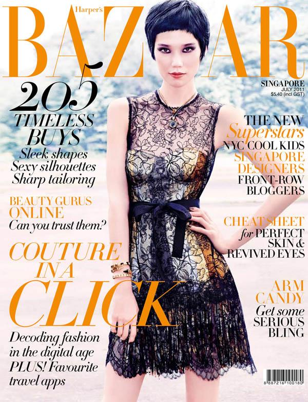 taocover <em>Harpers Bazaar Singapore</em> July 2011 Cover | Tao Okamoto by Gan