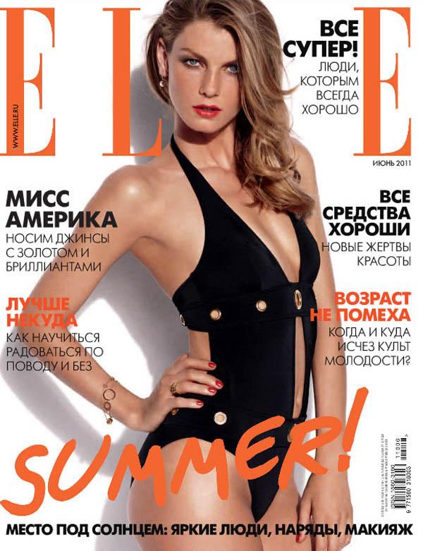 angelacover0 <em>Elle Russia</em> June 2011 Cover | Angela Lindvall by Asa Tallgard