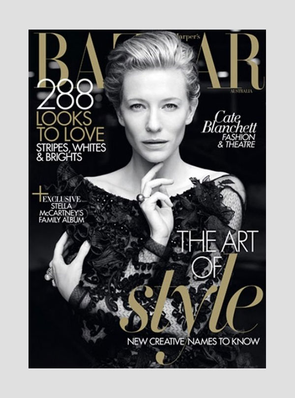 catecover Cate Blanchett for <em>Harpers Bazaar Australia</em> May 2011 (Cover)