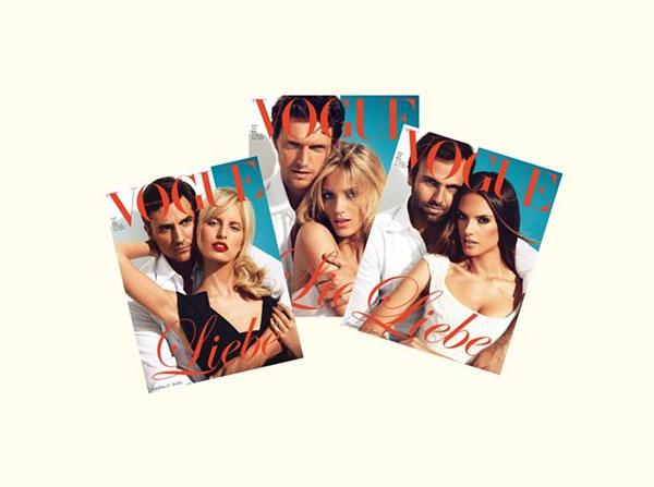 couplecover Anja Rubik, Alessandra Ambrosio & Karolina Kurkova Cover <em>Vogue Germany</em> June 2011