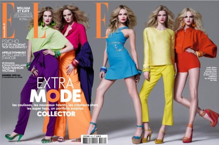 france <em>Elle France</em> May 2011 Cover | Natasha Poly, Iselin Steiro & Kasia Struss by Jean Baptiste Mondino