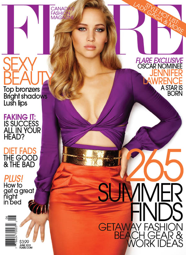 jencover <em>FLARE</em> June 2011 Cover | Jennifer Lawrence in Gucci