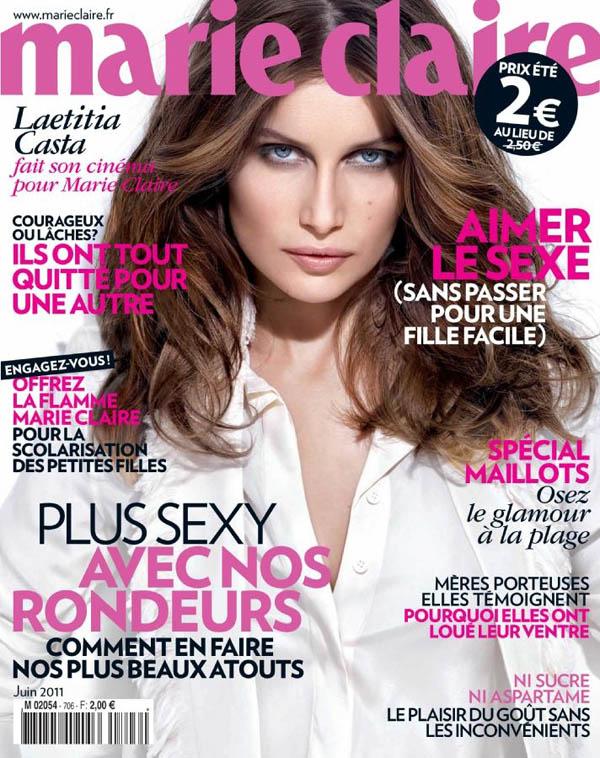 laetitiacover <em>Marie Claire France</em> June 2011 Cover | Laetitia Casta by Olivier Rose