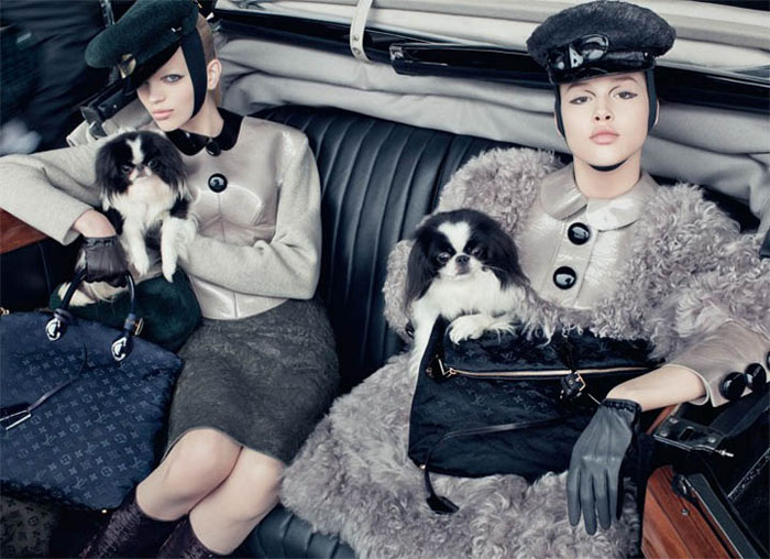 Daphne Groeneveld and Anais Pouliot are ladies in luxury for the autumn advertisements from Louis Vuitton. / Photo by Steven Meisel
