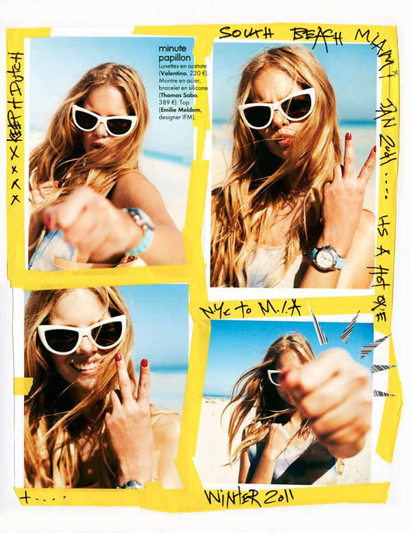 Marloes Horst took a beach trip for the MArch issue of Elle France. / Photo by Ben Watts