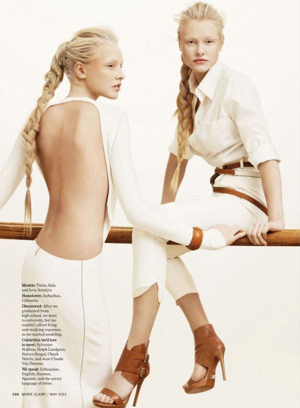 twin Ieva Aniulyte & Aida Aniulyte by Simon Burstall for <em>Marie Claire US</em> May 2011
